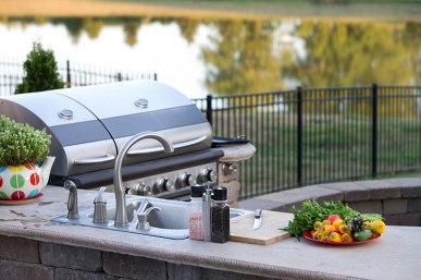 outside barbecue on river, wise high-performance living