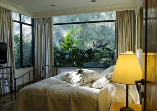 bedroom with white sheets and pillows, yellow night lamp, with big glass windows, wise high-performing living